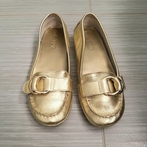 Woman's Gold Leather Loafers size 7